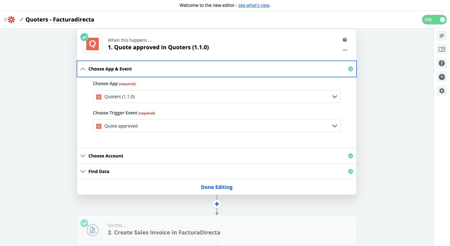 Step 1 - Quoters and FacturaDirecta connection using Zapier