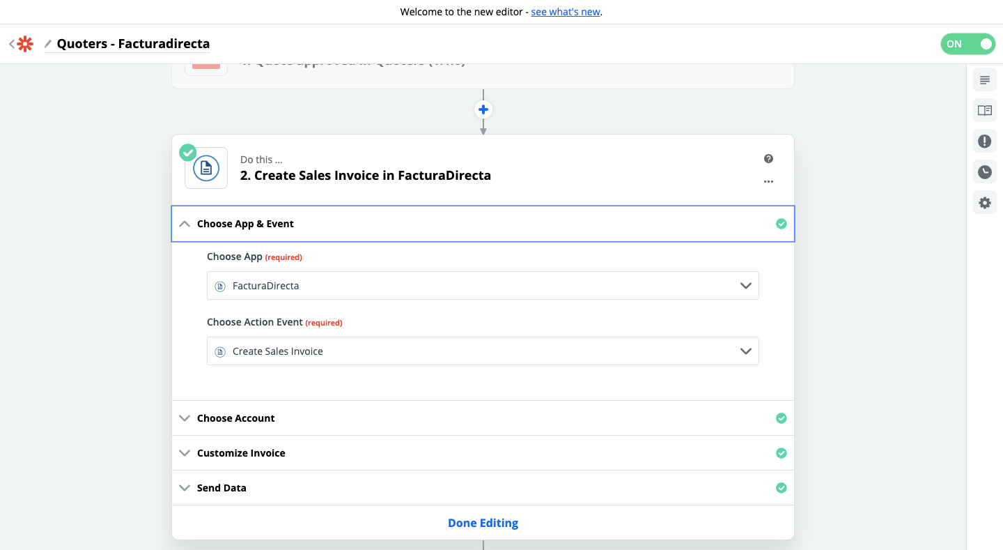 Step 2 - Quoters and FacturaDirecta connection using Zapier