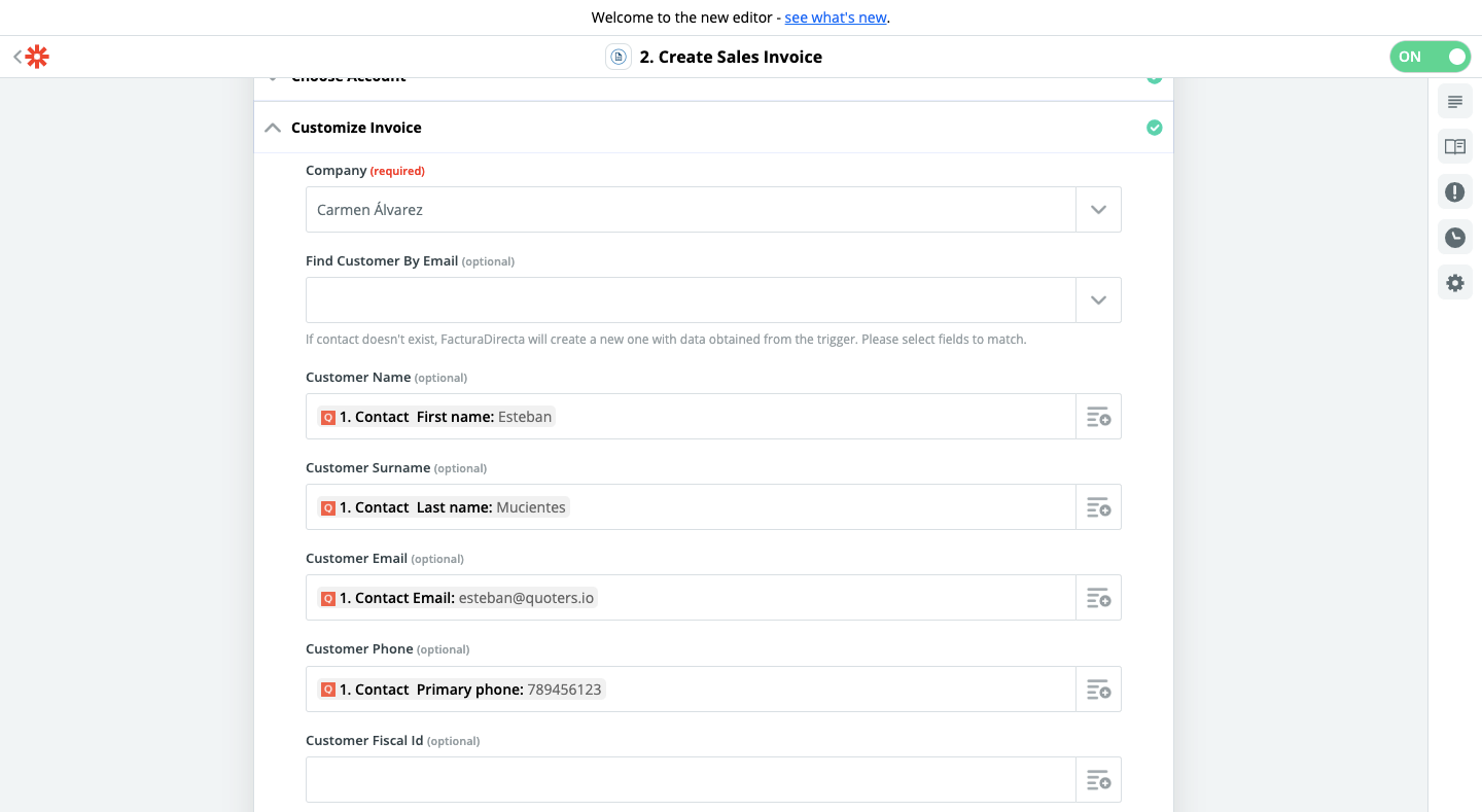 Step 3 - Quoters and FacturaDirecta connection using Zapier