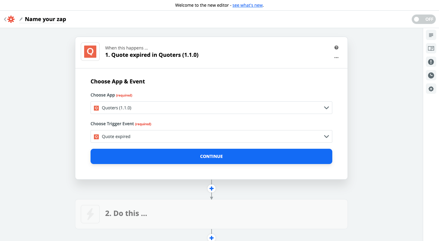 Step 1 - Quoters and Gmail connection using Zapier
