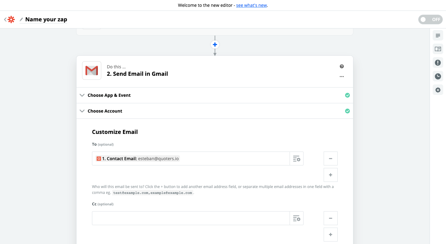 Step 2 - Quoters and Gmail connection using Zapier