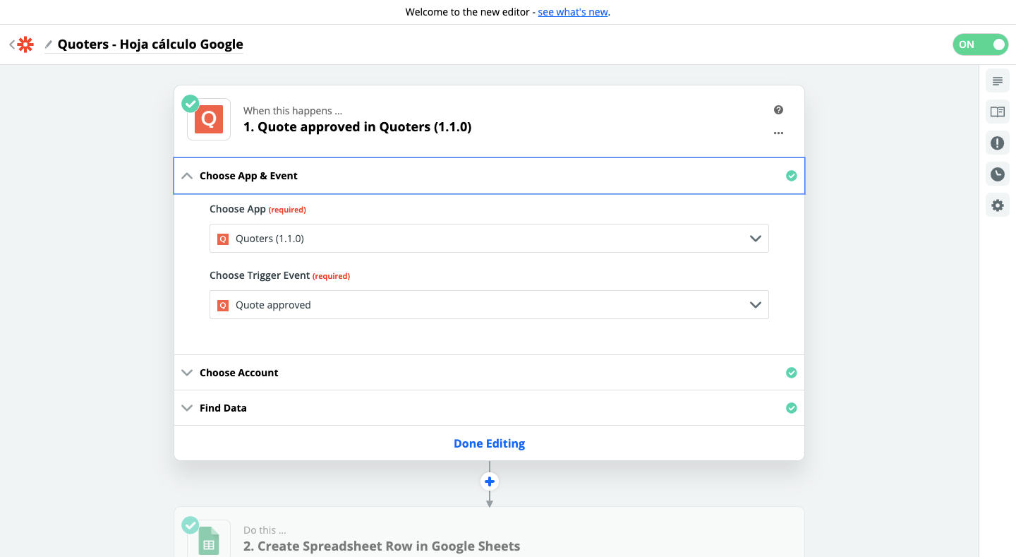 Step 1 - Quoters and Google Sheets connection using Zapier