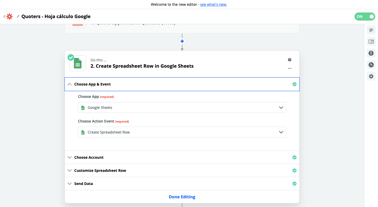 Step 2 - Quoters and Google Sheets connection using Zapier