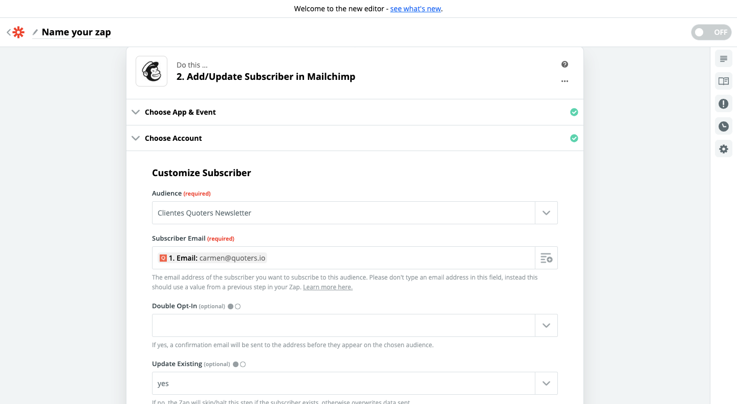 Step 3 - Quoters and Mailchimp connection using Zapier