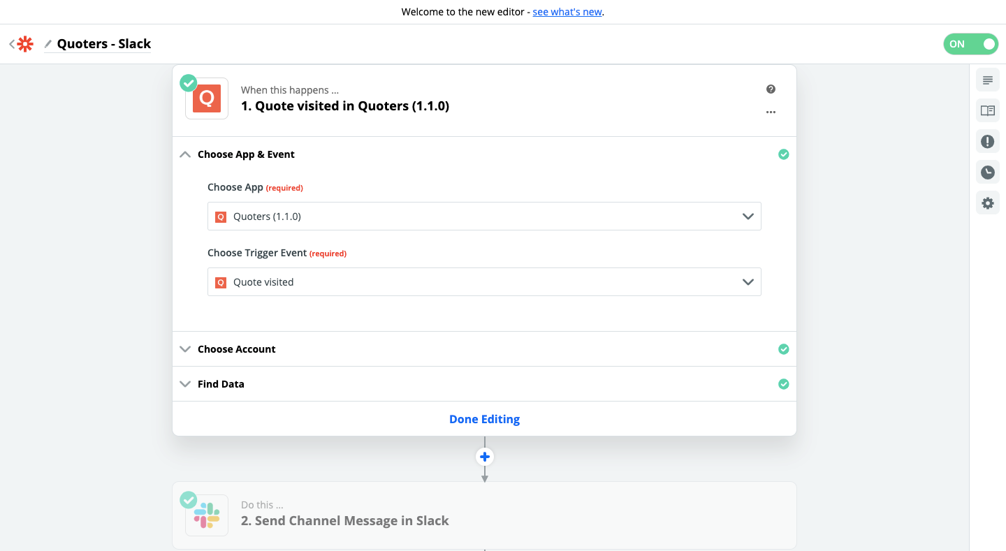 Step 1 - Quoters and Slack connection using Zapier