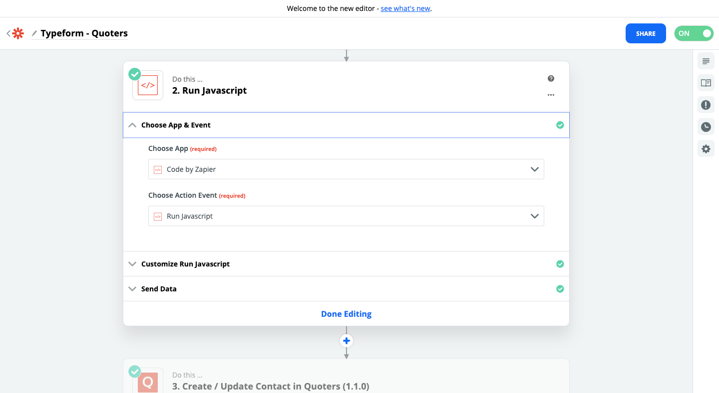 Step 4 - Quoters and Typeform connection using Zapier