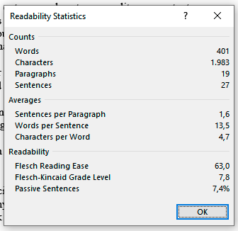 Readability stats on MS Word