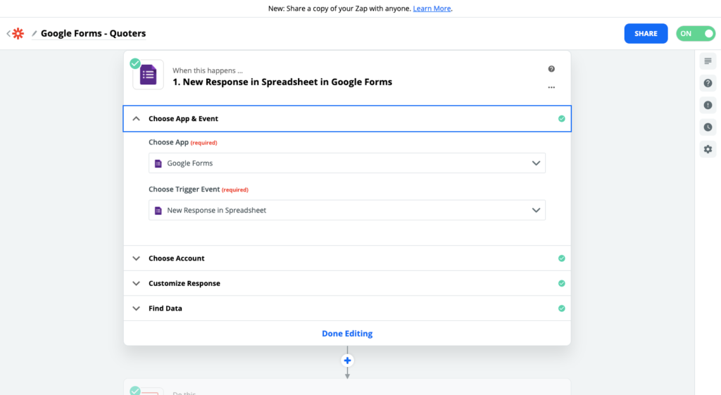 Paso 2 para conectar Quoters y Google Forms