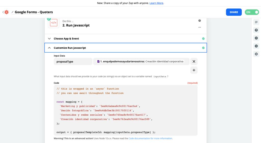 Paso 3 para conectar Quoters y Google Forms
