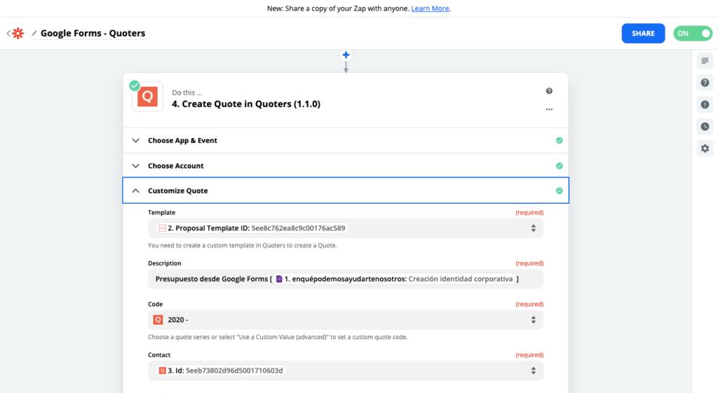 Paso 5 para conectar Quoters y Google Forms