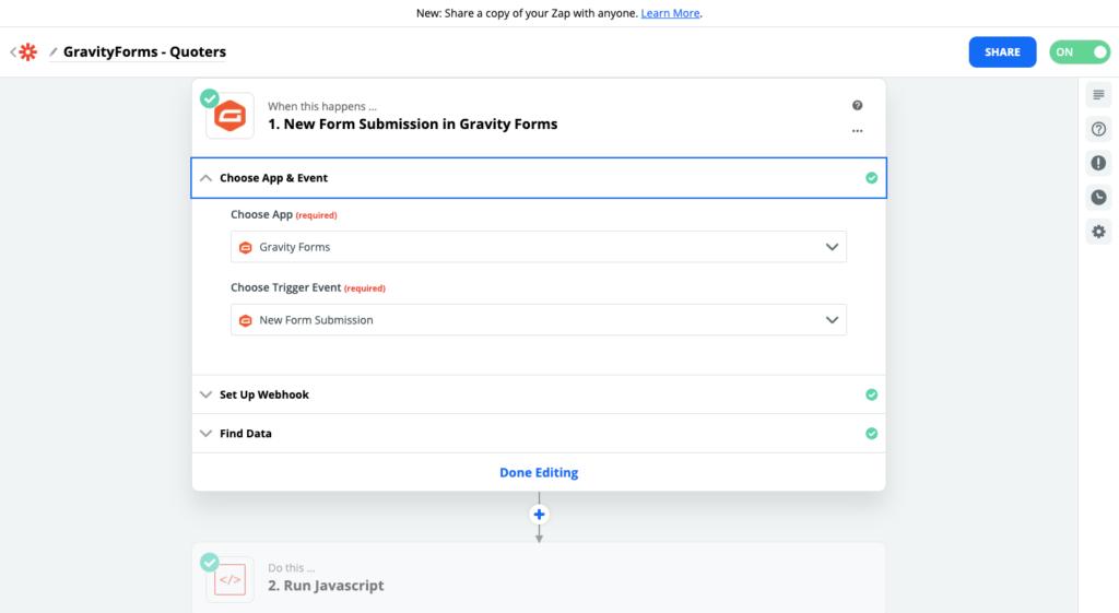 Paso 1 para conectar Quoters y Gravity Forms