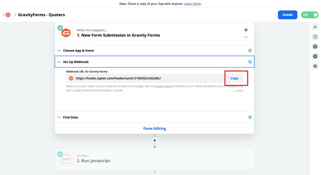 Paso 2 para conectar Quoters y Gravity Forms