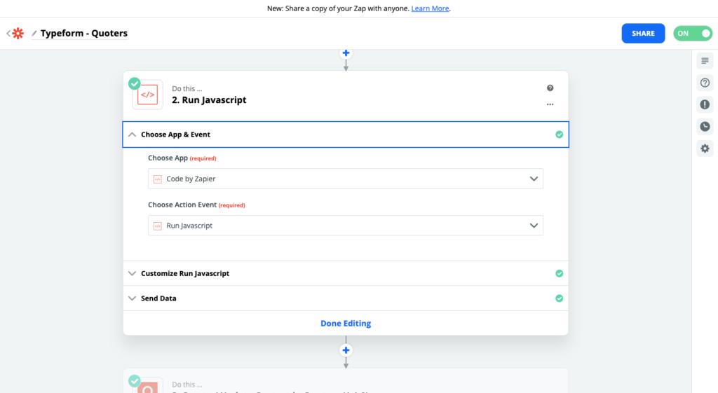 Paso 3 para conectar Quoters y Typeform